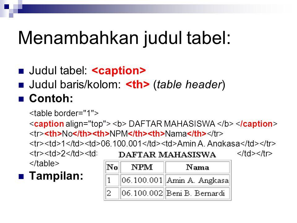 Menambahkan judul tabel: