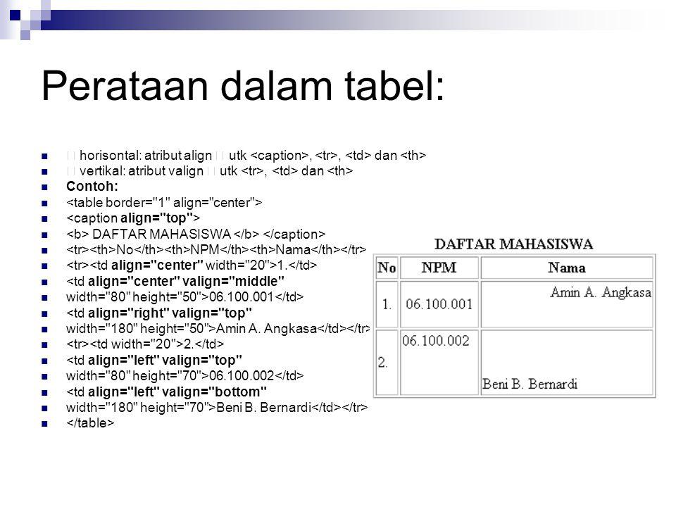 Perataan dalam tabel:  horisontal: atribut align  utk <caption>, <tr>, <td> dan <th>  vertikal: atribut valign  utk <tr>, <td> dan <th>