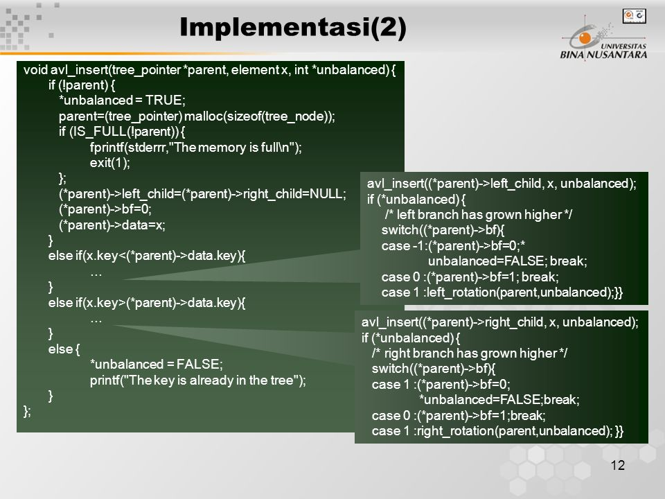 Implementasi(2) void avl_insert(tree_pointer *parent, element x, int *unbalanced) { if (!parent) {