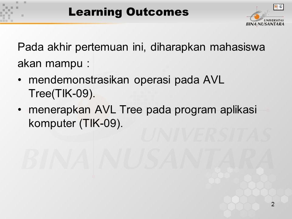 Learning Outcomes Pada akhir pertemuan ini, diharapkan mahasiswa. akan mampu : mendemonstrasikan operasi pada AVL Tree(TIK-09).