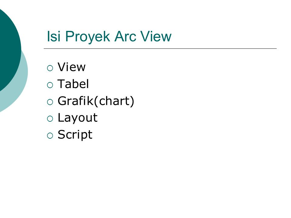 Isi Proyek Arc View View Tabel Grafik(chart) Layout Script