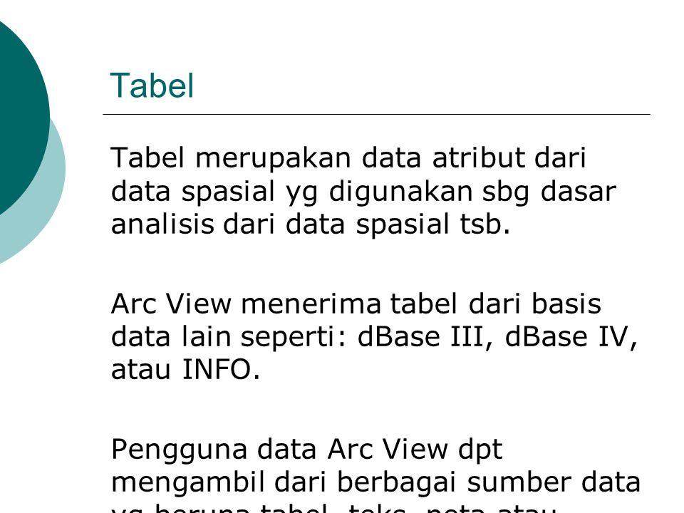Tabel Tabel merupakan data atribut dari data spasial yg digunakan sbg dasar analisis dari data spasial tsb.