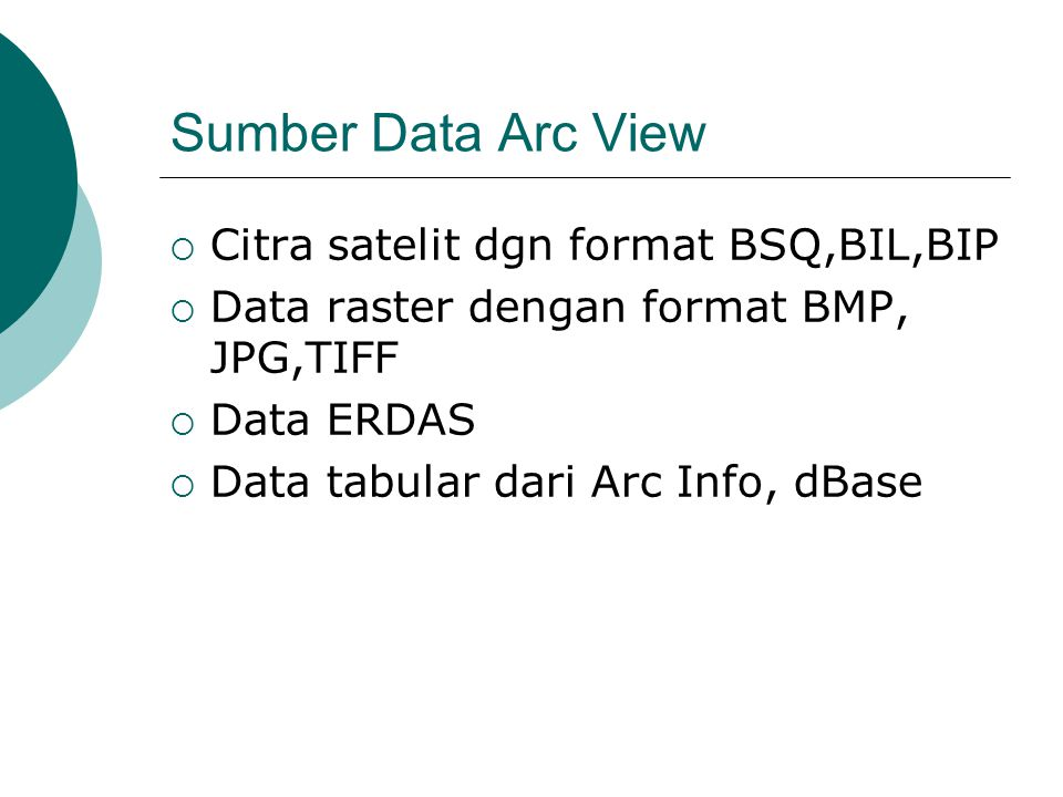 Sumber Data Arc View Citra satelit dgn format BSQ,BIL,BIP