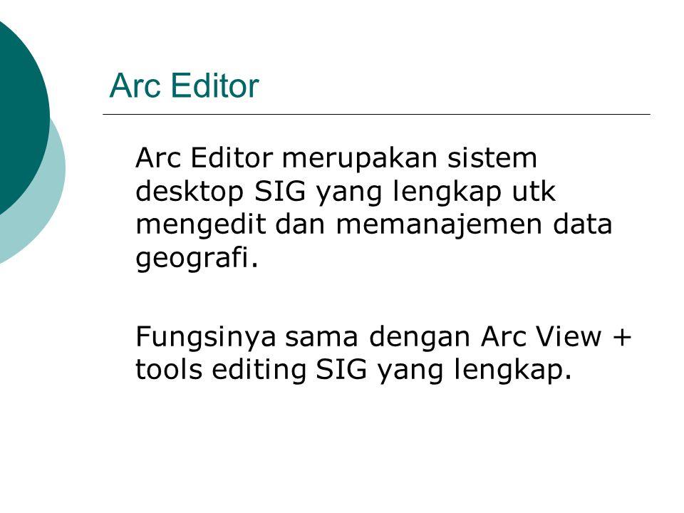 Arc Editor Arc Editor merupakan sistem desktop SIG yang lengkap utk mengedit dan memanajemen data geografi.