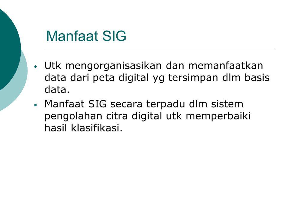 Manfaat SIG Utk mengorganisasikan dan memanfaatkan data dari peta digital yg tersimpan dlm basis data.