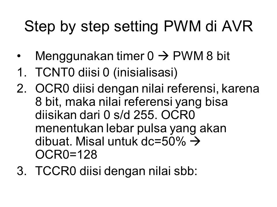 Step by step setting PWM di AVR