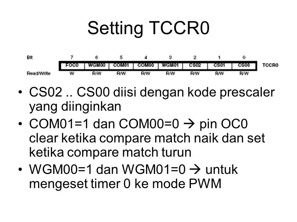 Setting TCCR0 CS02 .. CS00 diisi dengan kode prescaler yang diinginkan