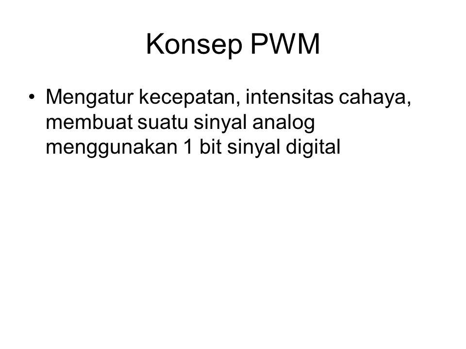 Konsep PWM Mengatur kecepatan, intensitas cahaya, membuat suatu sinyal analog menggunakan 1 bit sinyal digital.