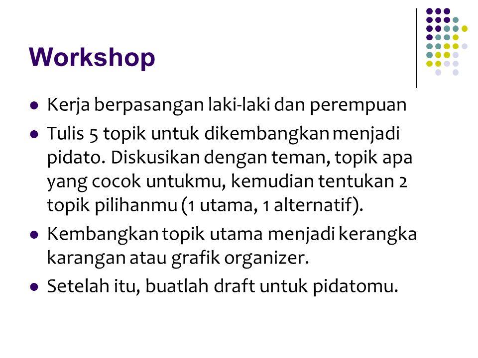 Workshop Kerja berpasangan laki-laki dan perempuan
