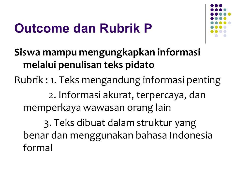 Outcome dan Rubrik P Siswa mampu mengungkapkan informasi melalui penulisan teks pidato. Rubrik : 1. Teks mengandung informasi penting.