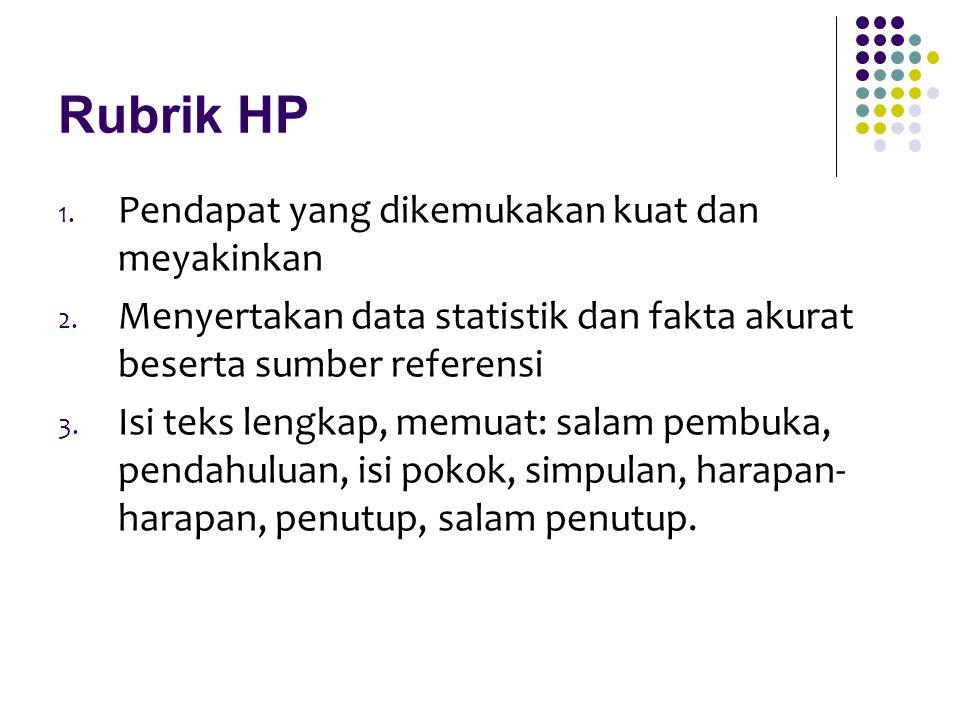 Rubrik HP Pendapat yang dikemukakan kuat dan meyakinkan