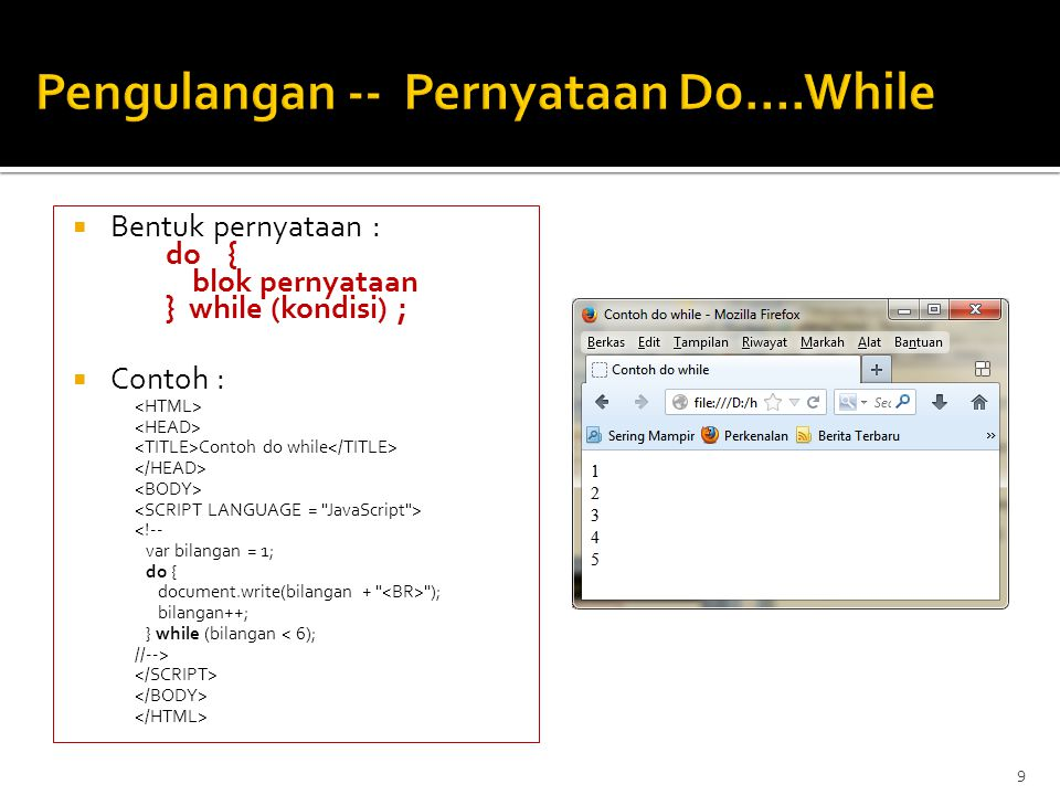 Pengulangan -- Pernyataan Do….While