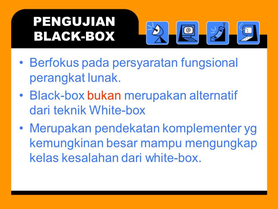 PENGUJIAN BLACK-BOX Berfokus pada persyaratan fungsional perangkat lunak. Black-box bukan merupakan alternatif dari teknik White-box.