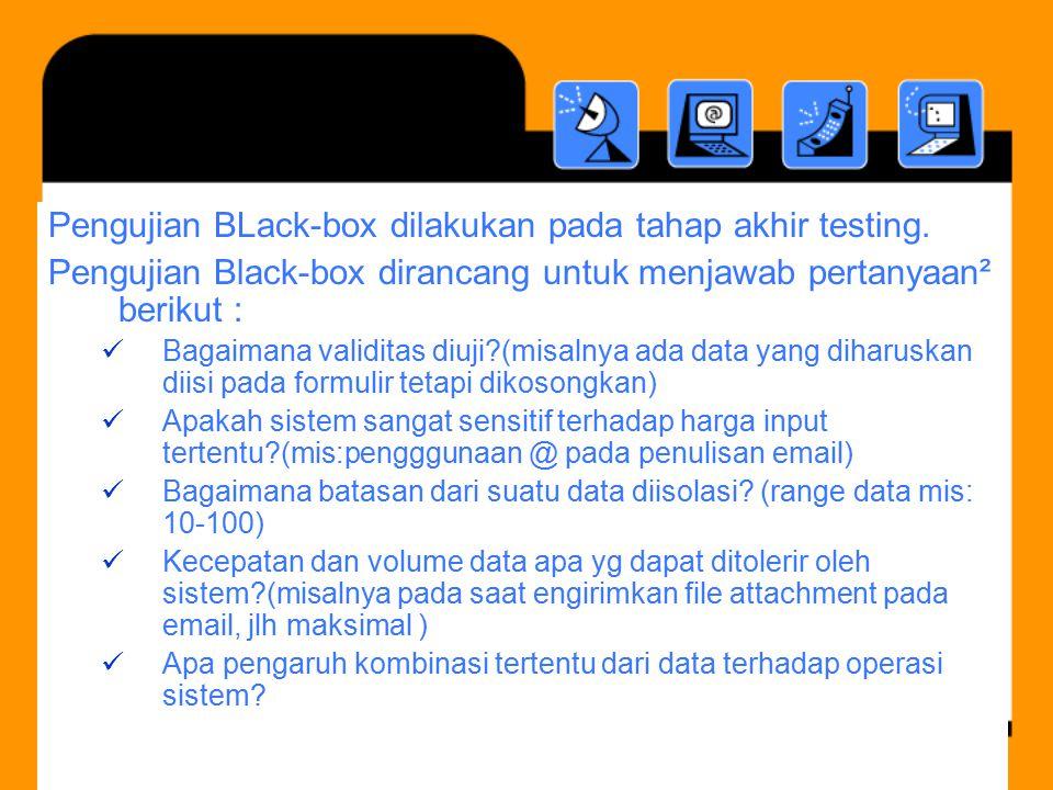 Pengujian BLack-box dilakukan pada tahap akhir testing.