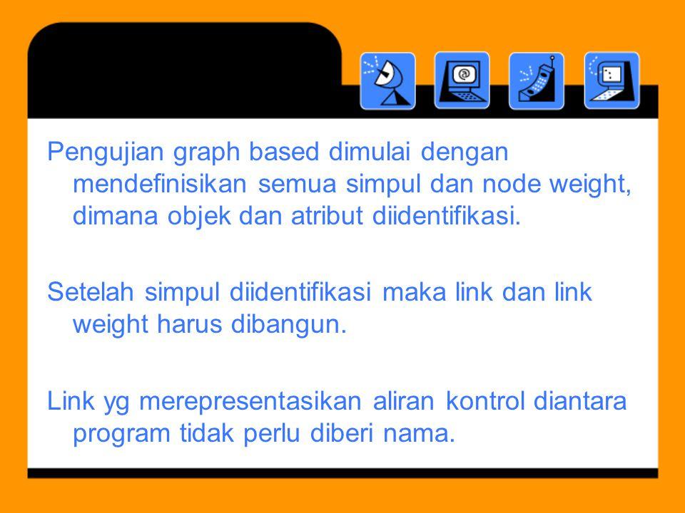 Pengujian graph based dimulai dengan mendefinisikan semua simpul dan node weight, dimana objek dan atribut diidentifikasi.
