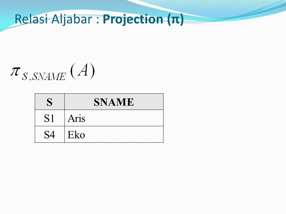 Relasi Aljabar : Projection (π)