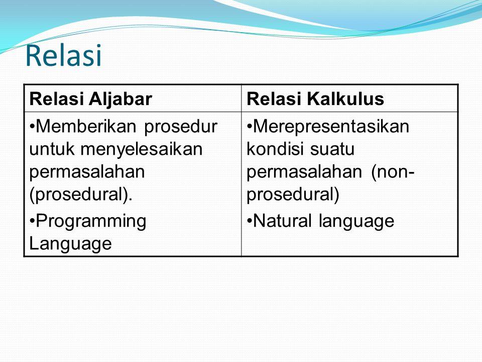 Relasi Relasi Aljabar Relasi Kalkulus