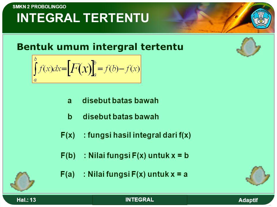 INTEGRAL TERTENTU Bentuk umum intergral tertentu a disebut batas bawah