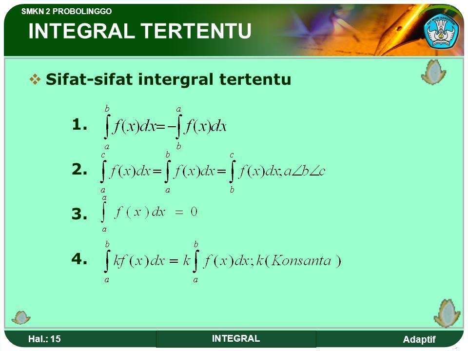 INTEGRAL TERTENTU Sifat-sifat intergral tertentu 1. 2. 3. 4. Hal.: 15
