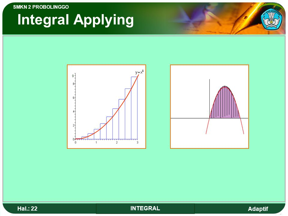 Integral Applying 9 Hal.: 22 INTEGRAL