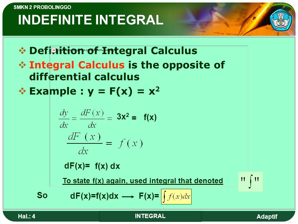 To state f(x) again, used integral that denoted