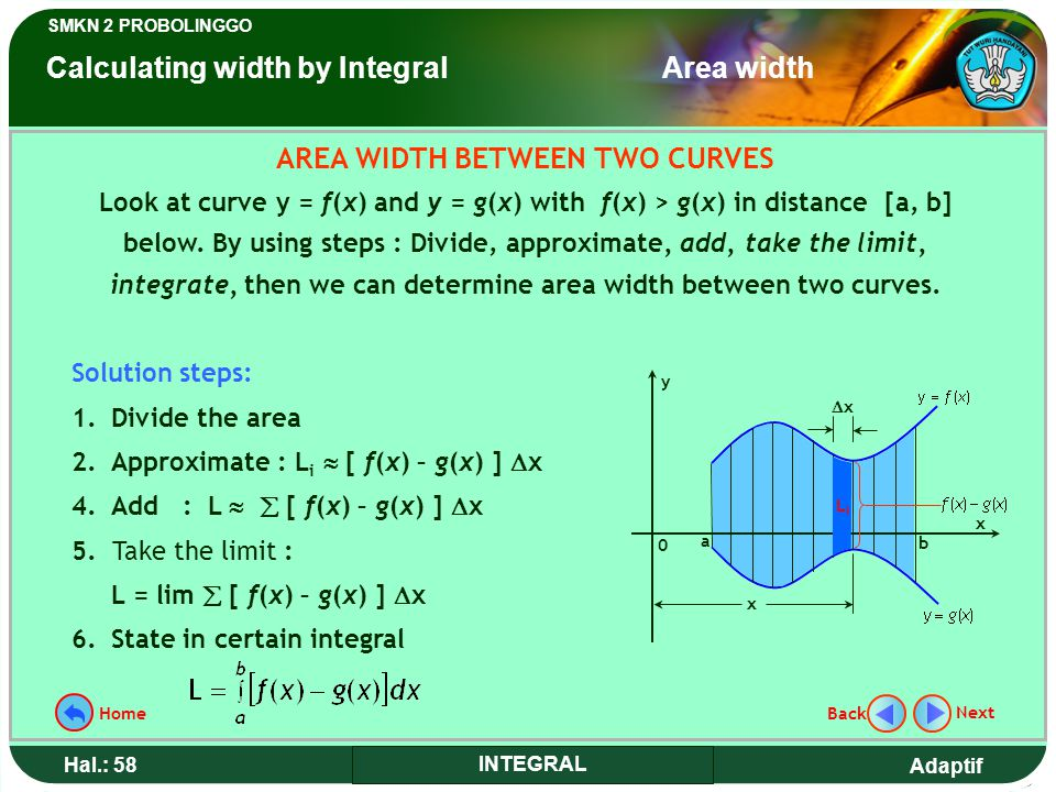 AREA WIDTH BETWEEN TWO CURVES