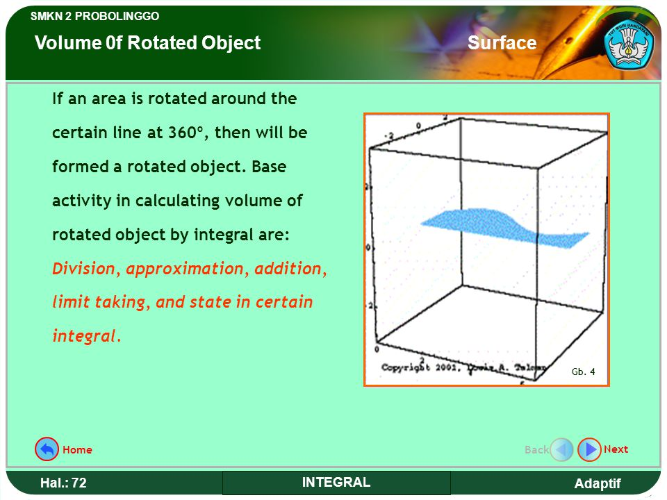 Volume 0f Rotated Object Surface