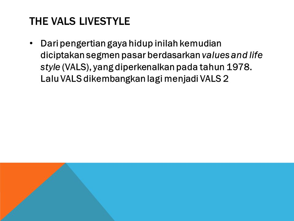 The VALS Livestyle