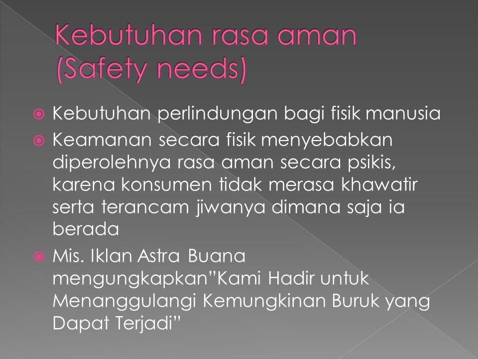 Kebutuhan rasa aman (Safety needs)