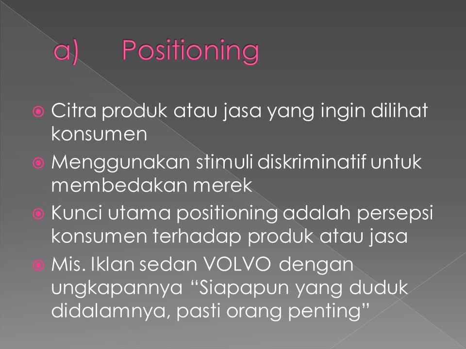 a) Positioning Citra produk atau jasa yang ingin dilihat konsumen