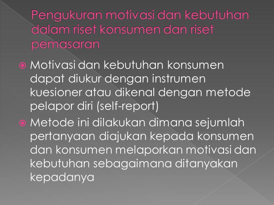 Pengukuran motivasi dan kebutuhan dalam riset konsumen dan riset pemasaran