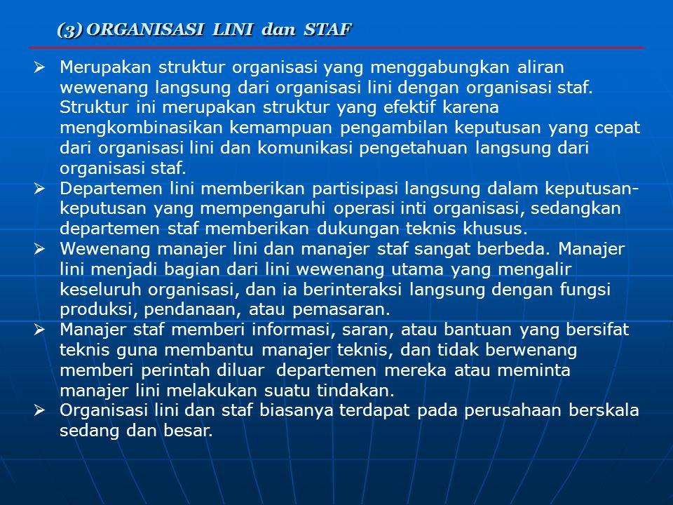 (3) ORGANISASI LINI dan STAF