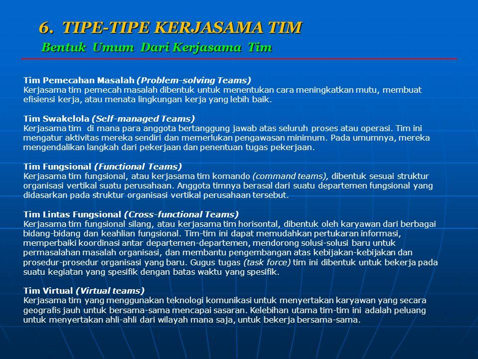 6. TIPE-TIPE KERJASAMA TIM