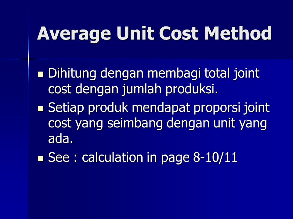 Average Unit Cost Method