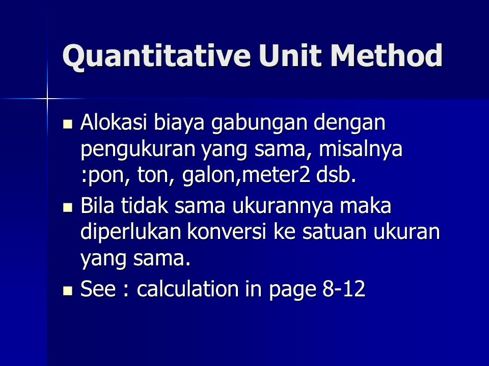 Quantitative Unit Method