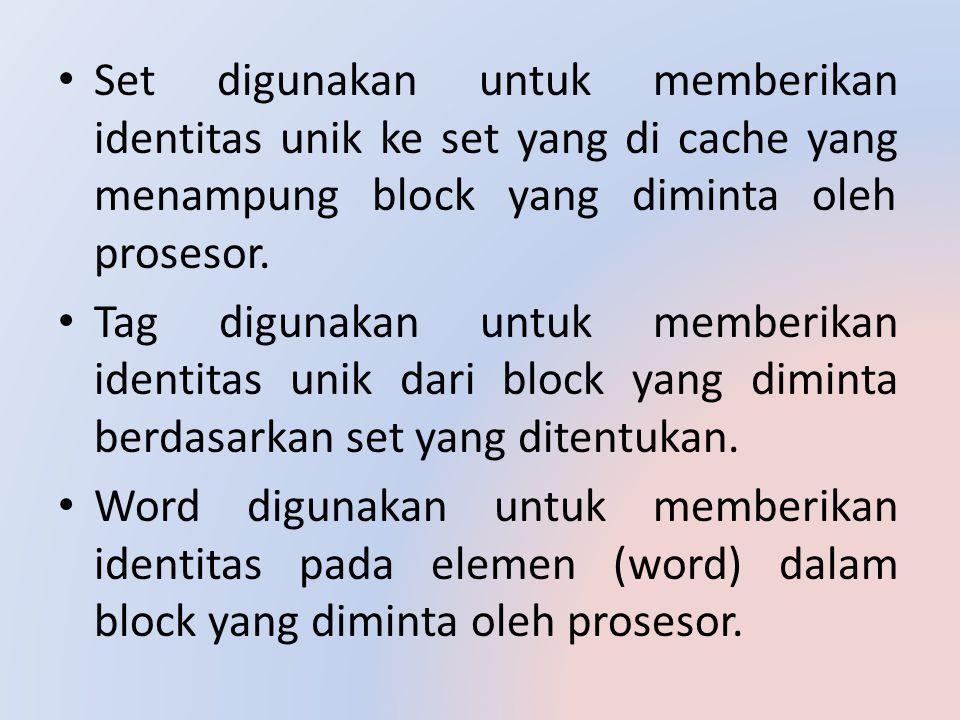 Set digunakan untuk memberikan identitas unik ke set yang di cache yang menampung block yang diminta oleh prosesor.