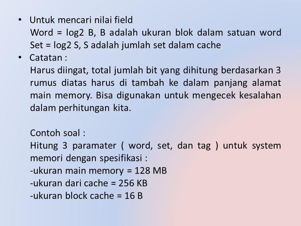 Untuk mencari nilai field