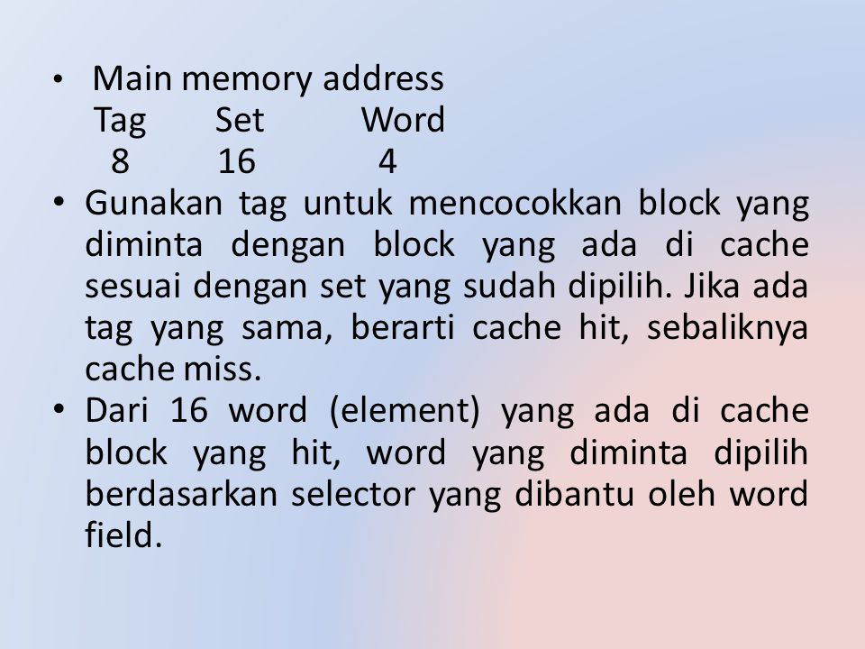 Main memory address Tag Set Word 8 16 4