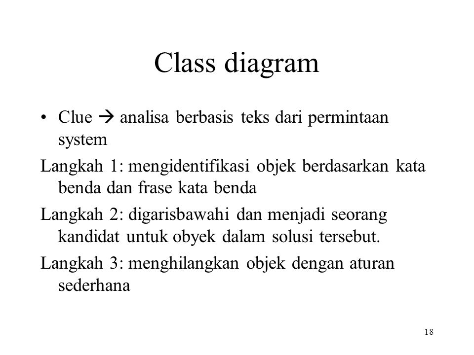 Class diagram Clue  analisa berbasis teks dari permintaan system