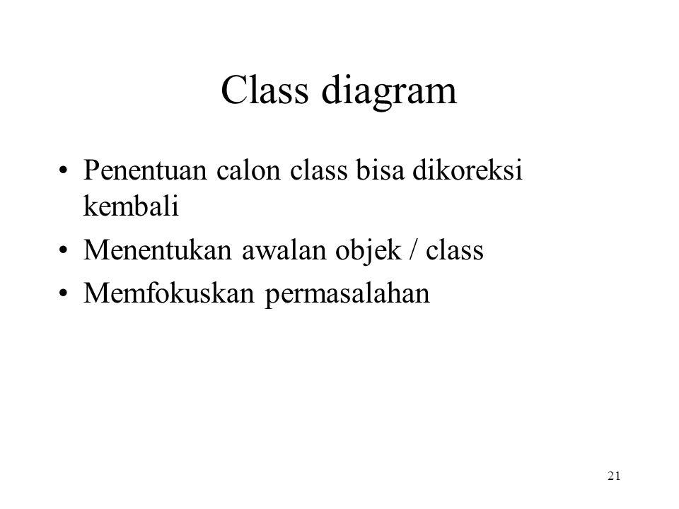 Class diagram Penentuan calon class bisa dikoreksi kembali