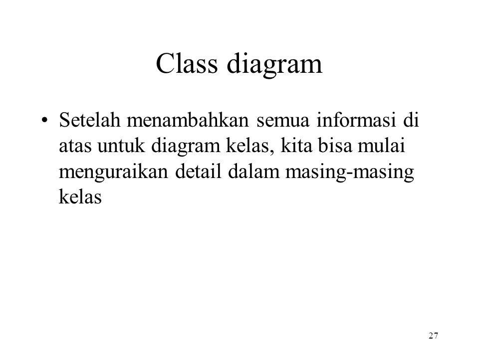 Class diagram Setelah menambahkan semua informasi di atas untuk diagram kelas, kita bisa mulai menguraikan detail dalam masing-masing kelas.