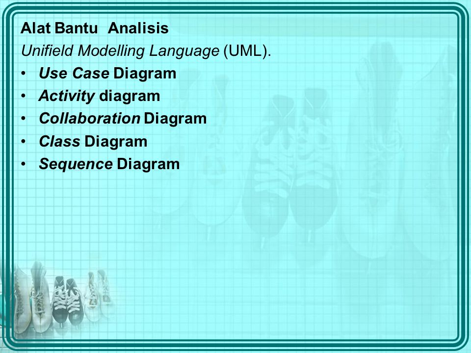 Alat Bantu Analisis Unifield Modelling Language (UML). Use Case Diagram. Activity diagram. Collaboration Diagram.