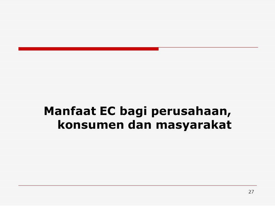 Manfaat EC bagi perusahaan, konsumen dan masyarakat