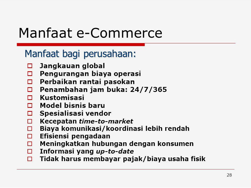 Manfaat e-Commerce Manfaat bagi perusahaan: Jangkauan global