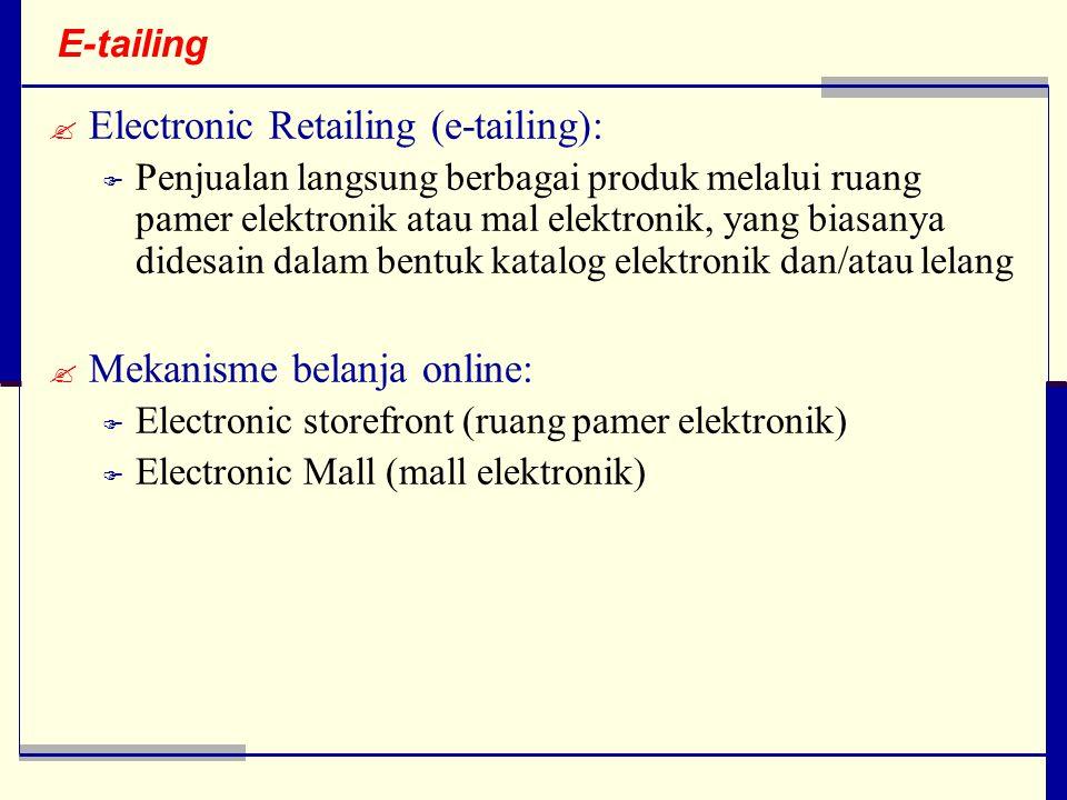 Electronic Retailing (e-tailing):