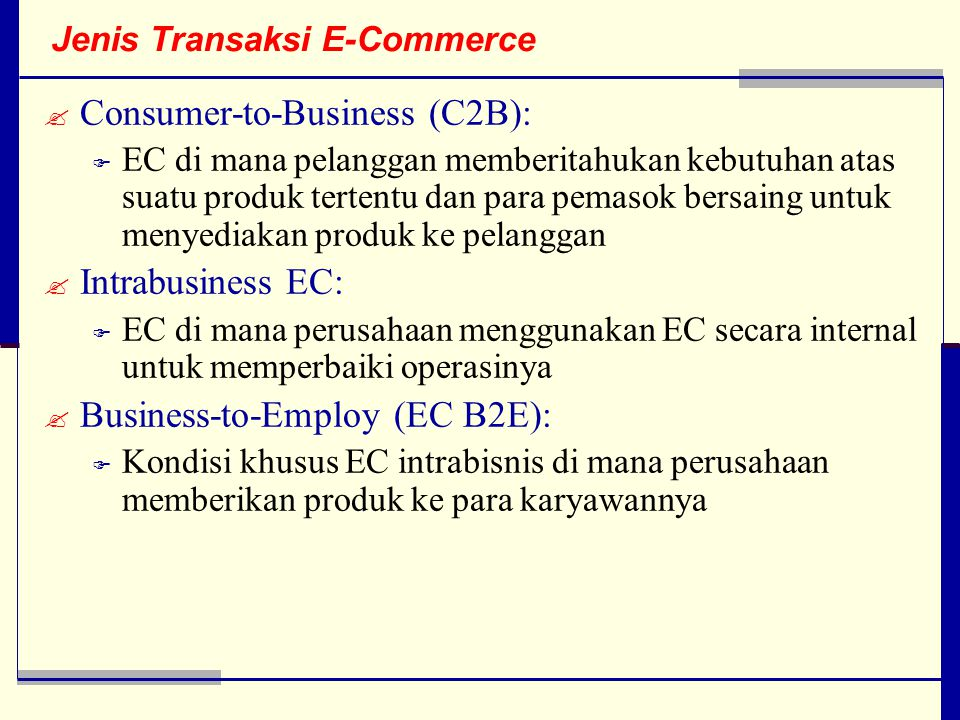 Jenis Transaksi E-Commerce