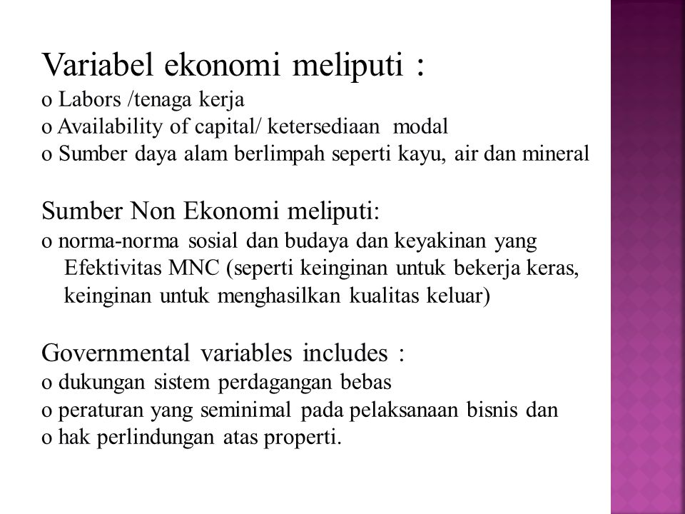 Variabel ekonomi meliputi :
