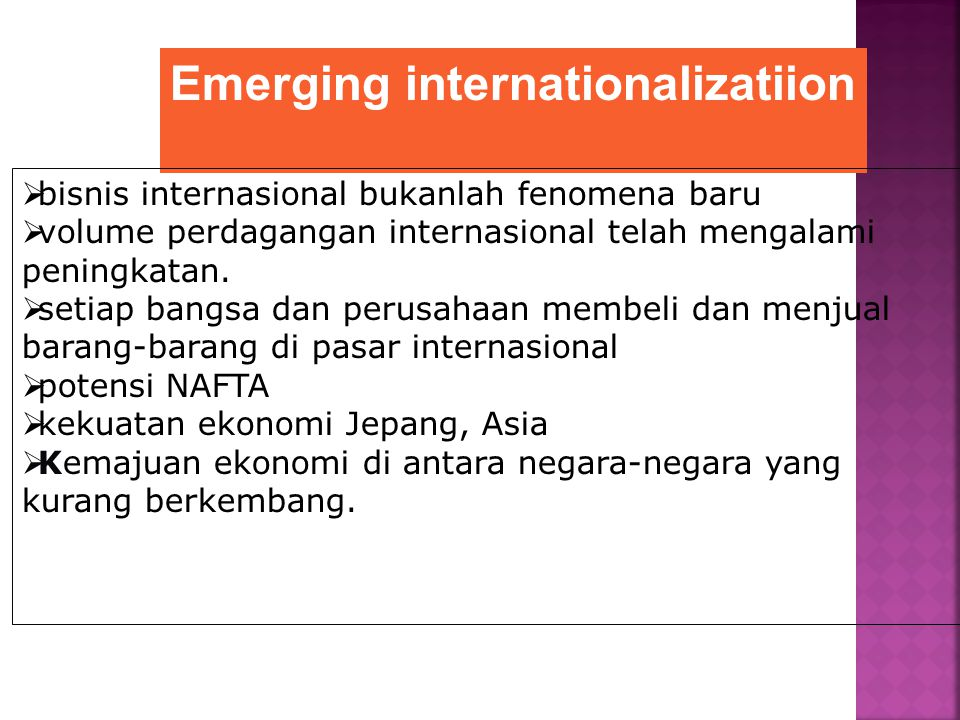 Emerging internationalizatiion