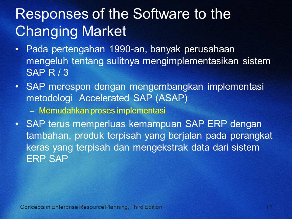 Responses of the Software to the Changing Market
