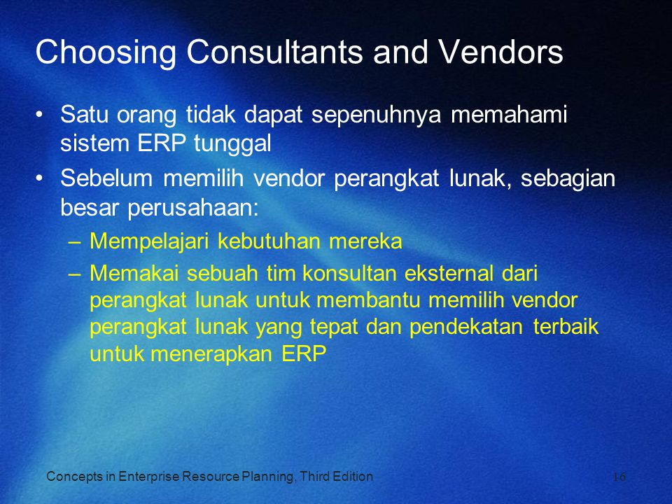 Choosing Consultants and Vendors